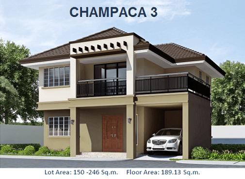 CHAMPACA 3: Php8,986,891.76 Floor Area: 189.13 sqm Lot Area: 190 sqm 2 Storey, Single Detached 4 Bedrooms 3 Toilets & Bath Fitted Kitchen Maid's Quarter w T&B Carport