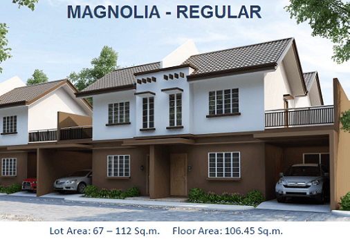 MAGNOLIA REGULAR Total Contract Price: 3,373,000.00 HOUSE FEATURES: 2-Storey, Duplex House 3 Bedrooms ; 2 Toilet and Bath Living, Dining, Kitchen, Terrace, Porch, Carport Floor Area: 106.45sqm. Lot Area : 67sqm.
