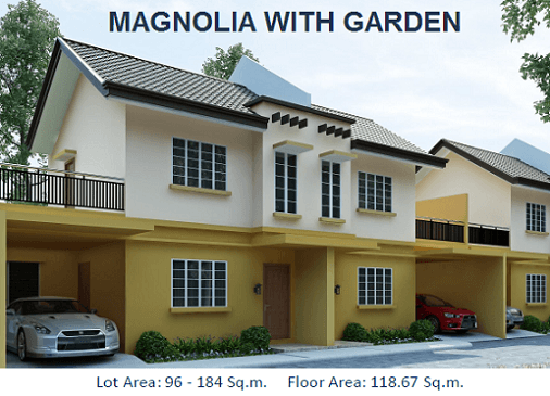 MAGNOLIA WITH GARDEN: Total Contract Price:4,007,800.00 3BR.2T&B 2-Storey, Duplex House 3 Bedrooms 2 Toilet and Bath Living, Dining, Kitchen Terrace, Porch Service Area, Carport Floor Area: 118.67 sqm. Lot Area : 96 sqm