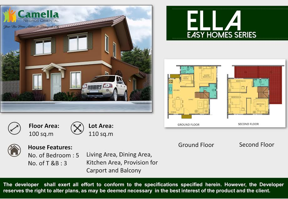 5bedrooms camella dumaguete house and lot for sale for Camella homes design with floor plan