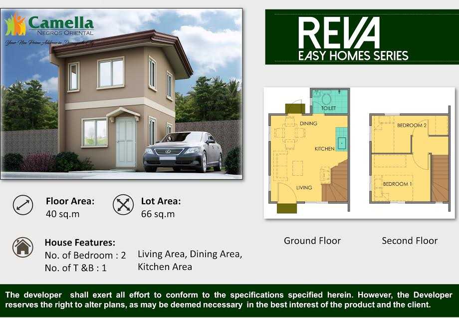 2bedrooms house and lot for sale camella homes dumaguete city - Camella homes design with floor plan ...